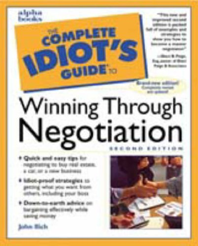 9780028633930: The Complete Idiot's Guide Winning Through Negotiation