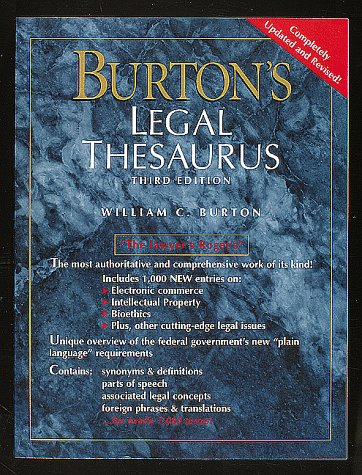 9780028653372: Burton's Legal Thesaurus
