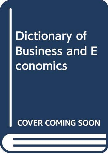 9780029007907: Dictionary of Business and Economics