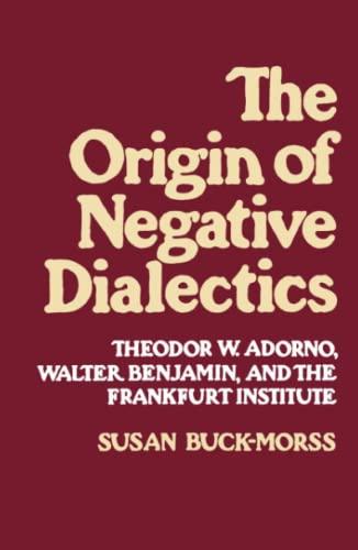 9780029051504: Origin of Negative Dialectics: Theodore W. Adorno, Walter Benjamin, and the Frankfurt Institute