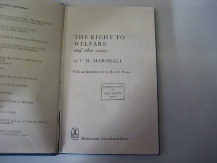 9780029202005: The Right to Welfare and Other Essays