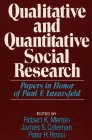 9780029209301: Qualitative and Quantitative Social Research: Papers in Honor of Paul F. Lazarsfeld