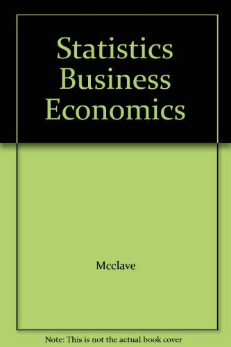 9780029464281: Statistics Business Economics