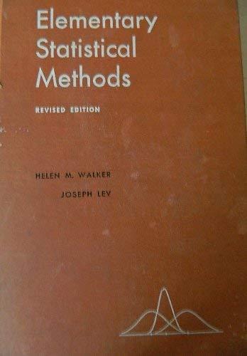 9780030072956: Elementary Statistical Methods