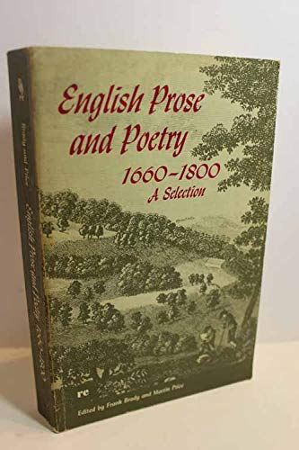 9780030105654: English Prose and Poetry, 1660-1800: A Selection (Rinehart Editions)