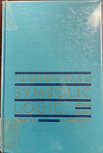9780030114052: Fundamentals of Symbolic Logic