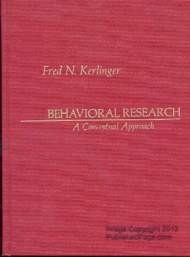 9780030133312: Behavioural Research: A Conceptual Approach