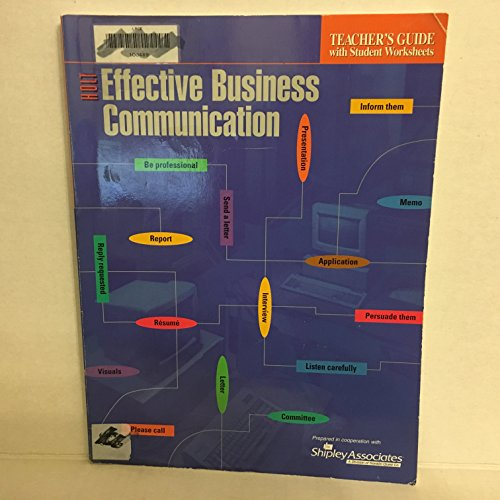9780030155949: Effective Business Communication -Teacher's Guide (Effective Business Communication -Teacher's Guide-with student worksheets)
