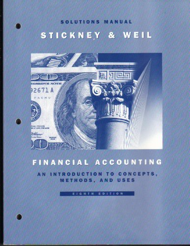 9780030182747: Financial Accounting: An Introduction to Concepts, Methods, and Uses : Solutions Manual