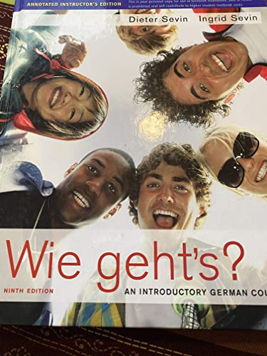 9780030214530: Wie Geht's an Introductory German Course (Instructor's Annotated Edition) 6th Ed. (6)