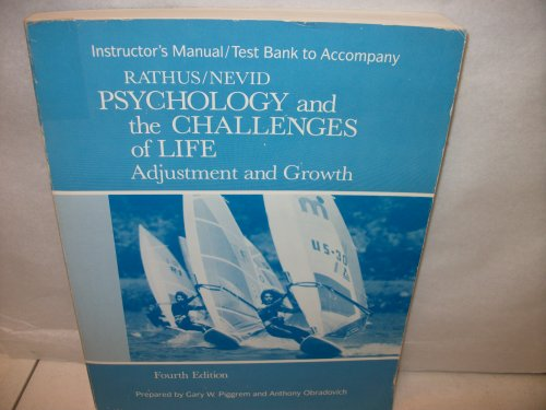 9780030254680: Instructor's manual / test bank to accompany Psychology and the challenges of life: Adjustment and growth