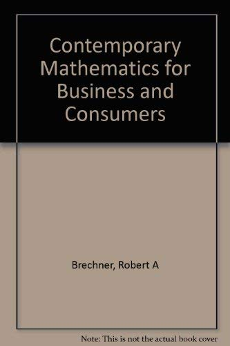 9780030259647: Contemporary Mathematics for Business and Consumers
