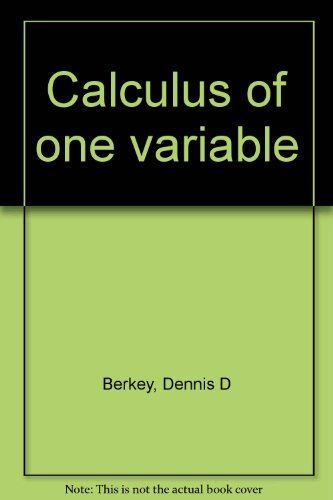 9780030263392: Calculus of one variable