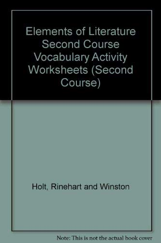 9780030277375: Elements of Literature Second Course Vocabulary Activity Worksheets (Second Course)