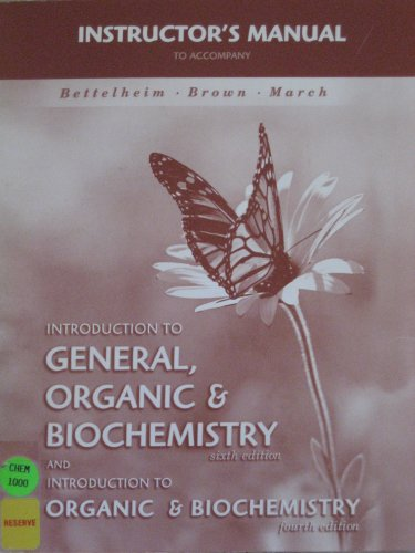 9780030291678: Instructors Manual to Accompany Introduction to General, Organic & Biochemistry Sixth Edition and Introduction to Organic & Biochemistry Fourth Edition