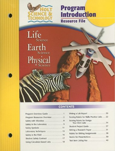 9780030301629: Holt Science & Technology Program Introduction Resource File: Life Science, Earth Science, Physical Science