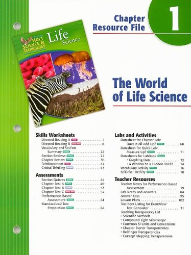 9780030301636 Holt Science Technology Life Science Chapter 1