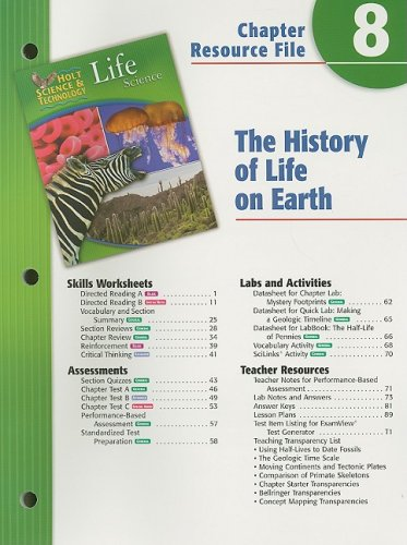 9780030301964: Holt Science & Technology Life Science Chapter 8 Resource File: The History of Life on Earth