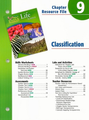 Holt Science & Technology Life Science Chapter 9 Resource File: Classification