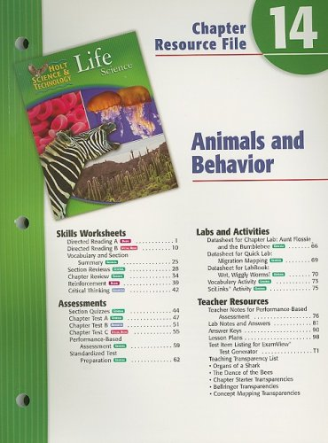 9780030302183: Holt Science & Technology Life Science Chapter 14 Resource File: Animals and Behavior