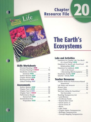 9780030302312: Holt Science & Technology Life Science Chapter 20 Resource File: The Earth's Ecosystem