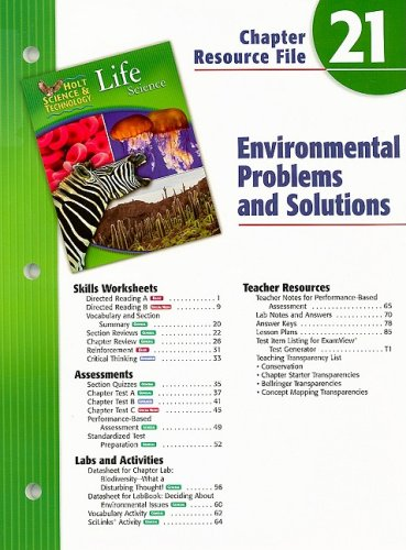 9780030302367: Holt Science & Technology Life Science Chapter 21: Environmental Problems and Solutions