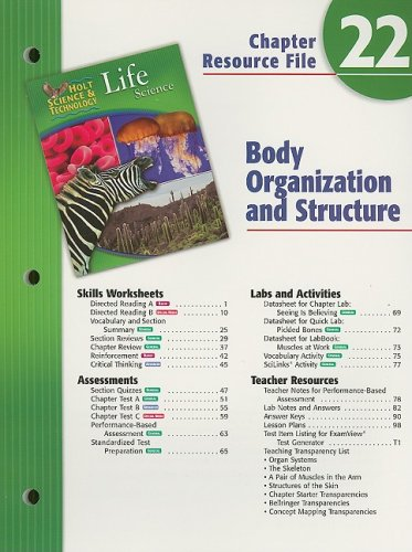 9780030302381: Holt Science & Technology Life Science Chapter 22 Resource File: Body Organization and Structure