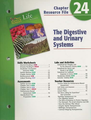 9780030302411: Holt Science & Technology Life Science Chapter 24 Resource File: The Digestive and Urinary Systems