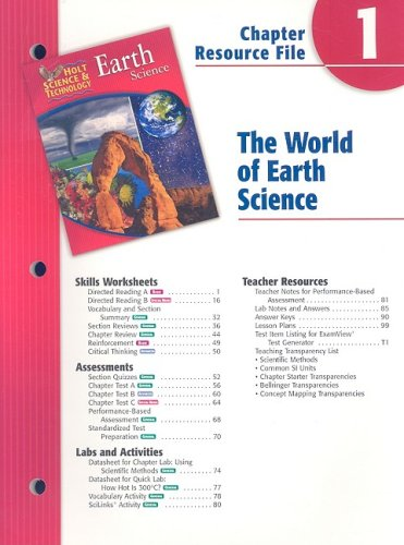 9780030302664: Holt Science & Technology Earth Science Chapter 1 Resource File: The World of Earth Science