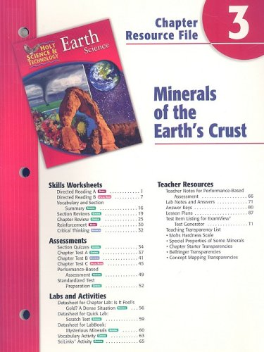 9780030302763: Holt Science & Technology Earth Science Chapter 3 Resource File: Minerals of the Earth's Crust