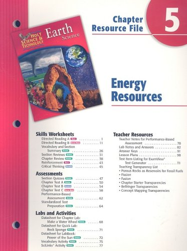 9780030302862: Holt Science & Technology Earth Science Chapter 5 Resource File: Energy Resources
