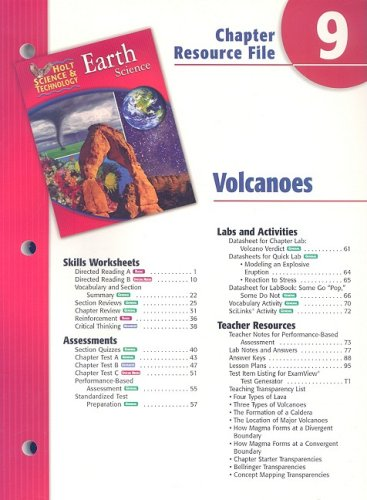 9780030303067: Holt Science & Technology Earth Science Chapter 9 Resource File: Volcanoes