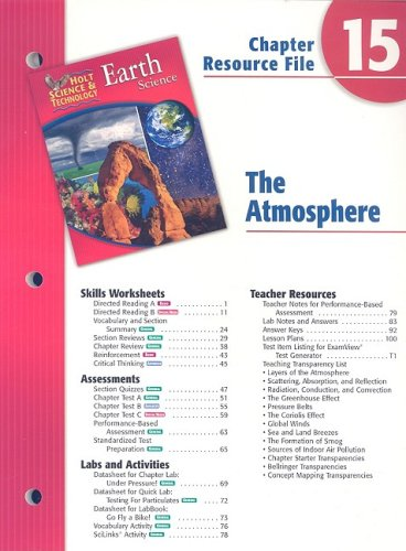 9780030303227: Holt Science & Technology Earth Science Chapter 15 Resource File: The Atmosphere