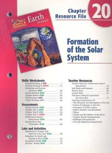 9780030303418: Holt Science & Technology Chapter 20 Resource File: Formation of the Solar System