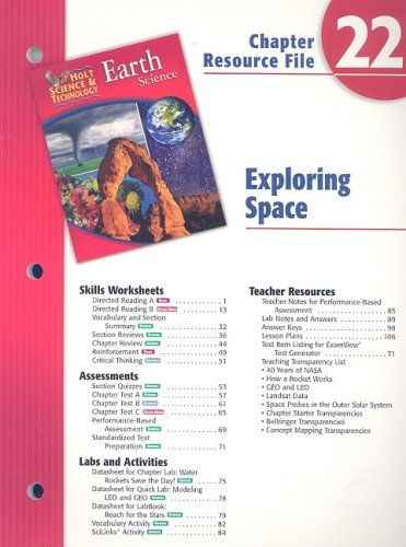 9780030303517: Holt Science & Technology Earth Science Chapter 22 Resource File: Exploring Space