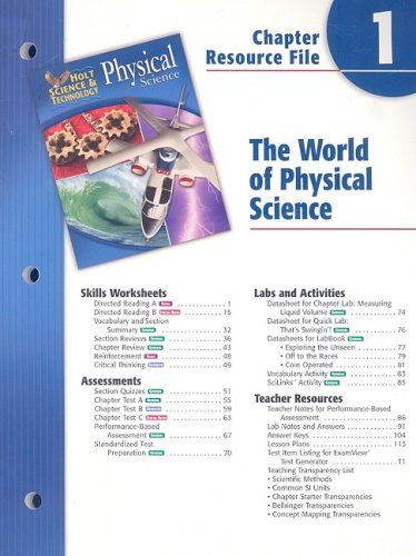 9780030303562: Holt Science & Technology: Chapter Resource File Physical Science Chapter 1: The World of Physical Science