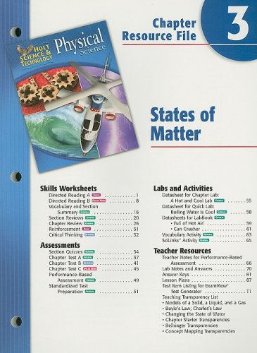 9780030303661: Holt Science Spectrum Physical Science Chapter 3 Resource File: States of Matter