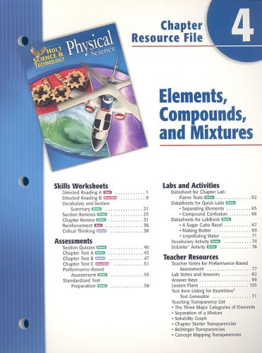 9780030303715: Holt Science & Technology: Chapter Resource File Physical Science Chapter 4: Elements, Compounds, and Mixtures