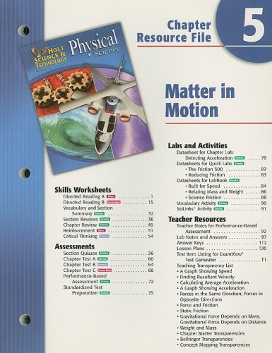 9780030303760: Holt Science & Technology: Physical Science Chapter 5 Resource File: Matter in Motion