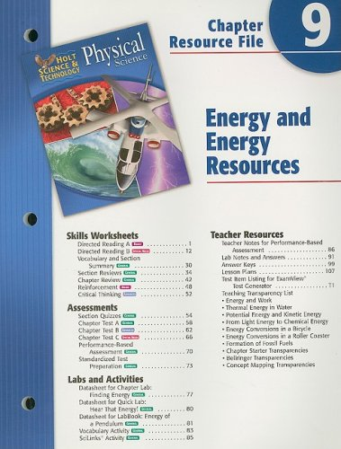 9780030303968: Holt Science Spectrum Physical Science Chapter 9 Resource File: Energy and Energy Resources