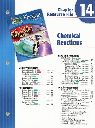 9780030304118: Holt Science & Technology Physical Science Chapter 14 Resource File: Chemical Reactions