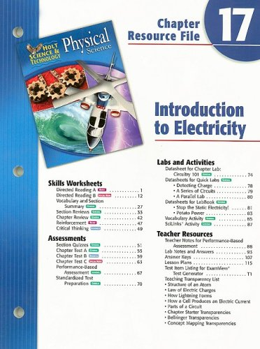 9780030304163: Holt Science & Technology Physical Science Chapter 17 Resource File: Introduction to Electricity