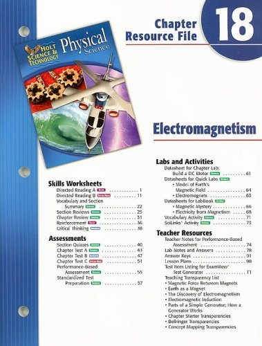 9780030304217: Holt Science & Technology Physical Science Chapter 18 Resource File: Electomagnetism