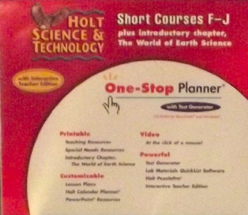 9780030306082: Holt Science & Technology: Short Courses F-J, One-Stop Planner CD-ROM with Test Generator for Mac&Windows Short Courses F-J and P