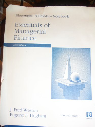 9780030311833: Blueprints :a problem notebook : Essentials of managerial finance