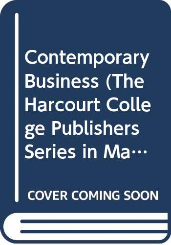 Contemporary Business (The Harcourt College Publishers Series in Management) 10th Edition (9780030332265) by Louis E. Boone; David L. Kurtz; Douglas Guide to Your Personal Finances to Accompany Contempo Hearth