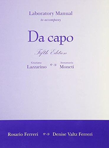9780030341878: Laboratory Manual to accompany Da Capo: An Italian Review Grammar