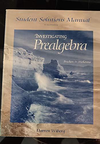 9780030344411: Student Solutions Manual for Bracken/McKenna's Investigating Prealgebra