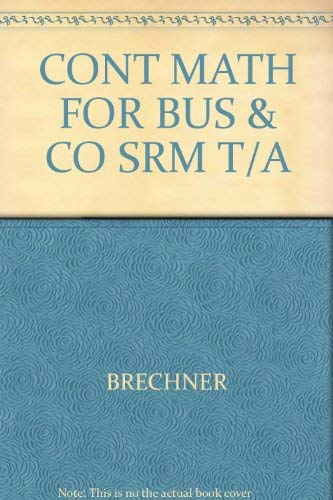 9780030354786: CONT MATH FOR BUS & CO SRM T/A