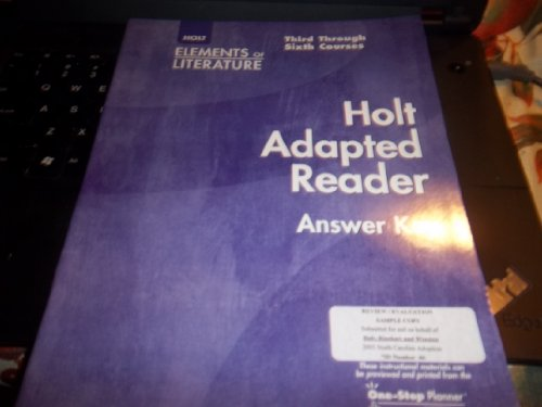 9780030359118: Holt Elements of Literature, Courses 3-6: Adapted Reader Answer Key, Grades 9-12